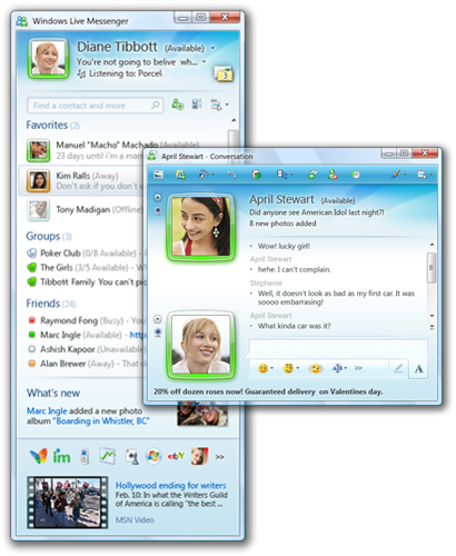 Hotmail Instant Messaging : Windows live messenger function found